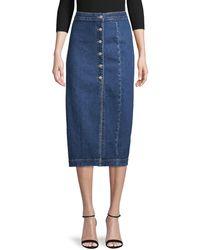 Free People Jasmine Buttoned Midi (denim Blue) Women's Skirt
