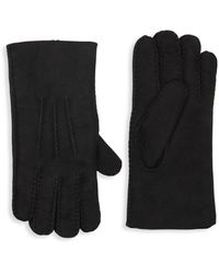 Portolano Shearling-lined Suede Gloves - Black