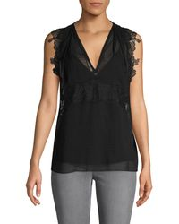 3.1 Phillip Lim Lace Sheer Silk Tank Top - Black