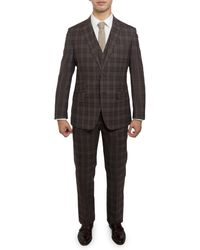 English Laundry 3-piece Brown Glen Check Suit