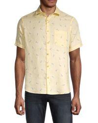 Saks Fifth Avenue Men's Pineapple-print Linen Shirt - Sunny - Size L - Natural