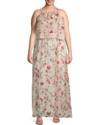 Adrianna Papell Plus Bonita Oasis Blouson Dress - Multicolour