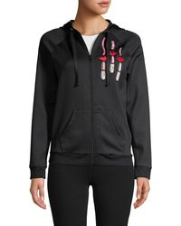 Valentino Zipped Hoodie With Lipstick And Logo Embroidery - Black
