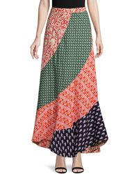 Free People Medley Patchwork Maxi Skirt - Blue