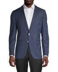 BOSS by Hugo Boss Men's Hartlay Regular-fit Striped Virgin Wool Jacket - Dark Blue - Size 42 R