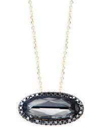 Suzanne Kalan - Black Diamond 14k Yellow Gold Oval Quartz Pendant Necklace - Lyst