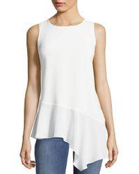 Saks Fifth Avenue Black Asymmetrical Ruffle Hem Sleeveless Dress - White