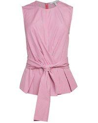 10 Crosby Derek Lam Pandora Pleated Peplum Top - Pink