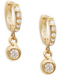 CZ by Kenneth Jay Lane 14k Yellow Gold Unicorn Stud Earrings - Multicolor