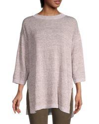 Eileen Fisher Women's Roundneck Organic Linen Tunic - Brown - Size S/m