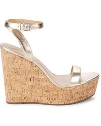 Schutz Metallic Leather Wedge Sandals