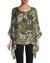 Le Marais Floral Asymmetrical Silk Top - Green