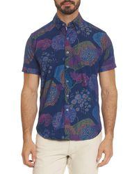 Robert Graham Men's Shultz Tailored-fit Short-sleeve Printed Sport Shirt - Indigo - Size L - Blue