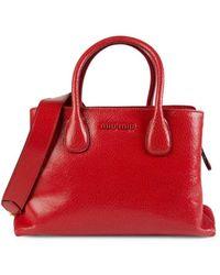 Miu Miu Crackled Leather Satchel - Red