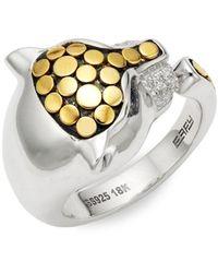 Effy Sterling Silver, 18k Yellow Gold, Diamond & Sapphire Ring - Metallic