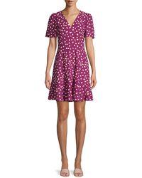 Kate Spade Mallow Dot Crepe A-line Dress - Multicolour