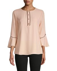 Calvin Klein Piped Flare-sleeve Blouse - Pink
