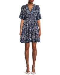 Max Studio Women's Floral Flutter-sleeve Dress - Navy - Size L - Blue
