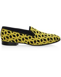 Louis Leeman Embroidered Velvet Slip-on Shoes - Yellow