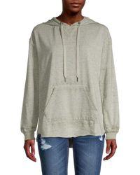 C&C California Women's High-low Cotton-blend Hoodie - Deep Lichen - Size L - Gray