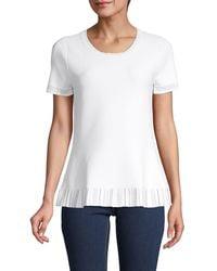 Donna Karan Ruffled Trim Short-sleeve Top - White