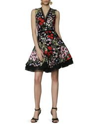 Bronx and Banco Botanical Embroidered Mini Dress - Black