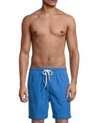 Brooks Brothers Montauk Solid Swim Shorts - Blue