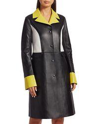 Kirin Colorblock Combo Leather Coat - Black