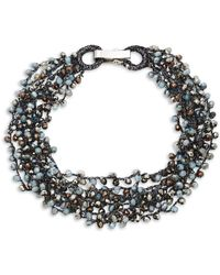 Saks Fifth Avenue - Hematite Crochet Beaded Necklace - Lyst