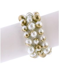 Saachi Half Moon Faux-pearl Bracelet - Metallic