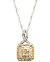 Effy Two-tone, White & Yellow Diamond Pendant Necklace - Multicolour