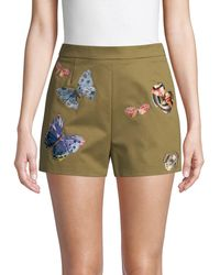 Valentino Embroidered Butterfly Cotton Shorts - Green