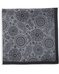 Saks Fifth Avenue Silk Paisley Scarf - Gray