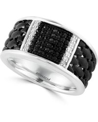 Effy Sterling Silver, White And Black Sapphire Ring