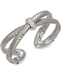 Roberto Coin 18k White Gold, Diamond & Ruby Cuff Bracelet - Metallic