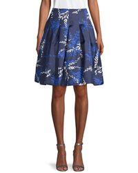 Oscar de la Renta Silk & Cotton Printed Skirt - Blue