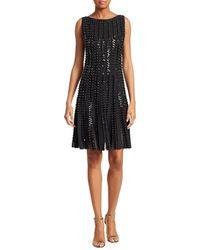Zac Posen Embroidered Radiant Stripe Knit A-line Dress - Black