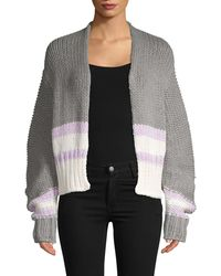Free People Colorblock Cotton Blend Cardigan - Red