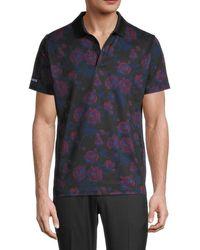 Bonobos Men's Slim-fit Floral-print Golf Polo - Black Rose - Size Xl