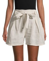 Saks Fifth Avenue Women's Belted Linen Shorts - Black White Stripe - Size Xl
