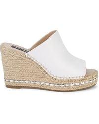 Karl Lagerfeld Carina Leather Platform Espadrille Wedges - White