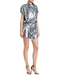 Carolina Ritzler Short Sleeve Sequin Romper - Multicolor
