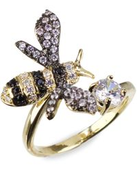 CZ by Kenneth Jay Lane 18k Goldplated & Rhodium-plated Crystal Bee Ring - Multicolour