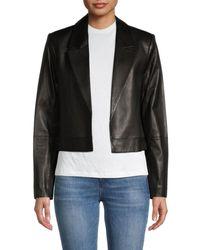 RTA Wynn Short Leather Open-front Jacket - Black