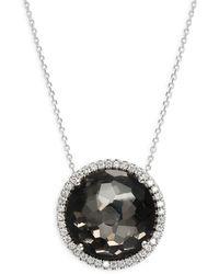 Suzanne Kalan 18k White Gold, Black Night Quartz & Diamond Pendant Necklace