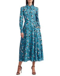 Erdem Women's Josianne Daffodil Ditsy Print Shirt Dress - Blue White - Size 8 Uk (4 Us)
