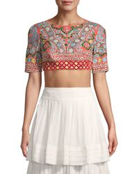 Saloni - Mixed-print Silk Cropped Top - Lyst