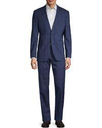 Saks Fifth Avenue Trim-fit Plaid Wool Suit - Blue