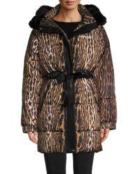 Roberto Cavalli - Women's Leopard Faux Fur-trim Puffer Coat - Brown Beige - Size M - Lyst
