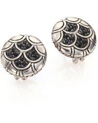 John Hardy Naga Black Sapphire & Sterling Silver Button Earrings - Metallic